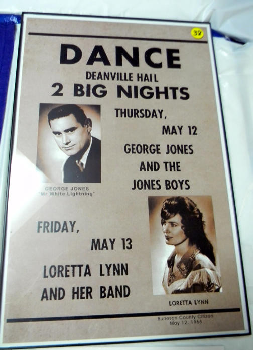 Poster of bands that played at Hermann Hall in Deanville Texas in 1966